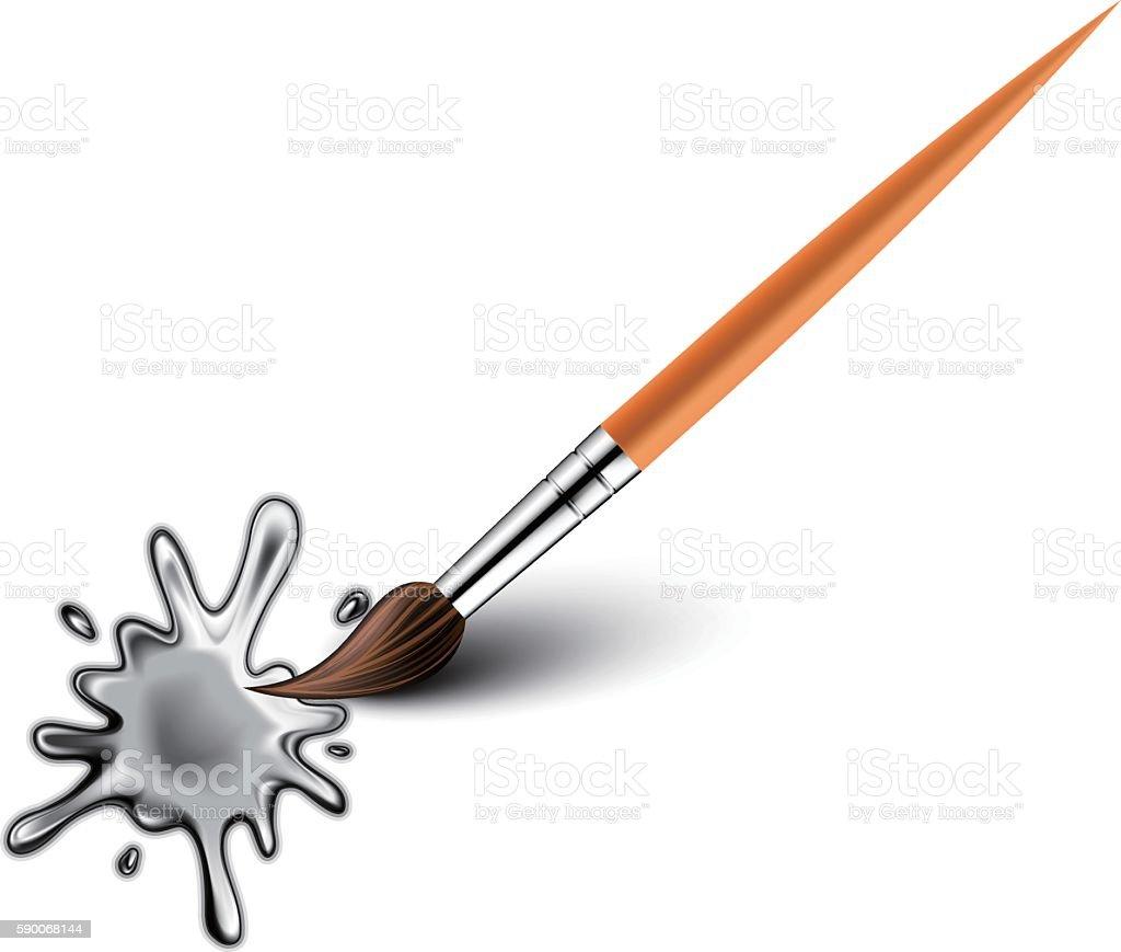 Art brush with  drops vector art illustration