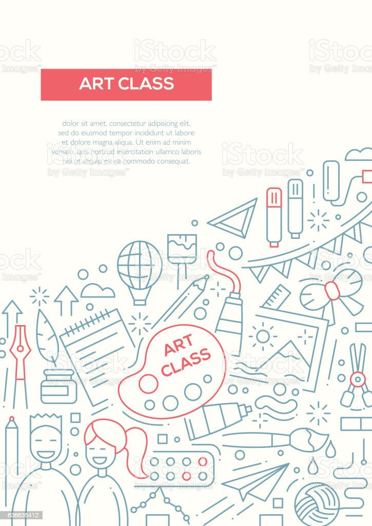 Art Class - line design brochure poster template A4 vector art illustration