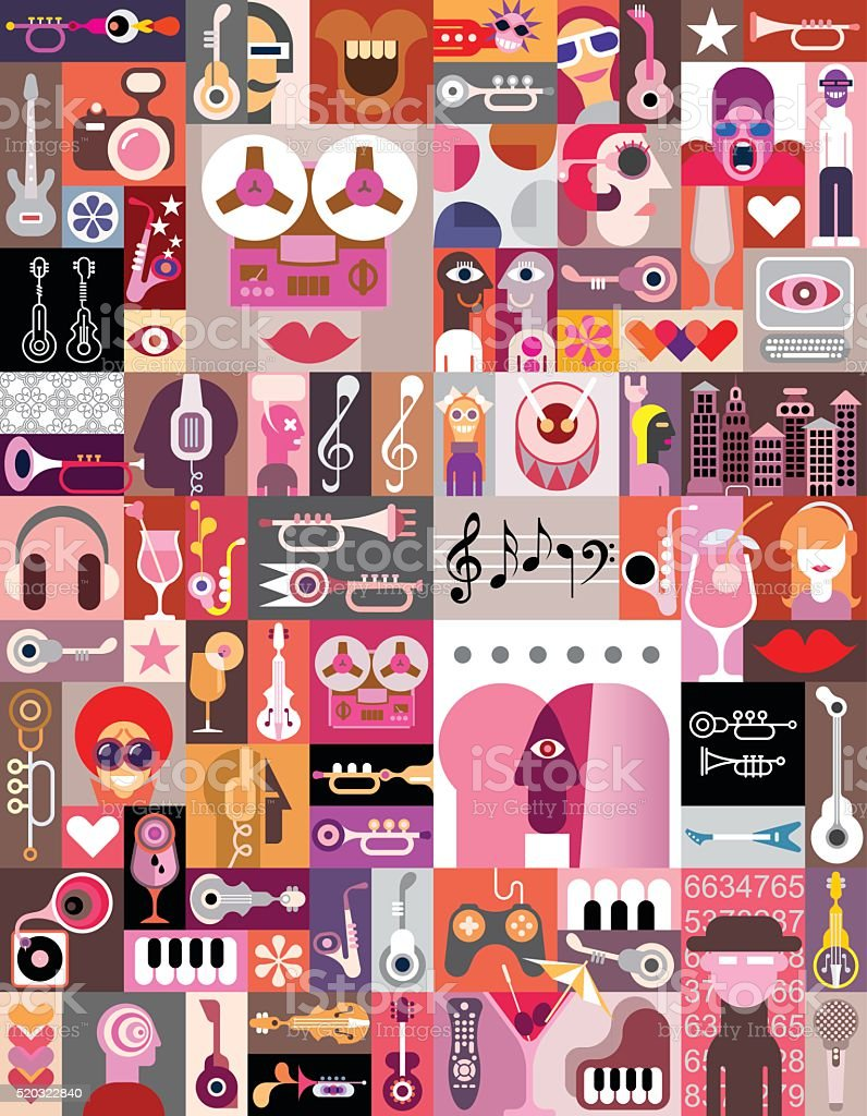 Art Collage vector art illustration