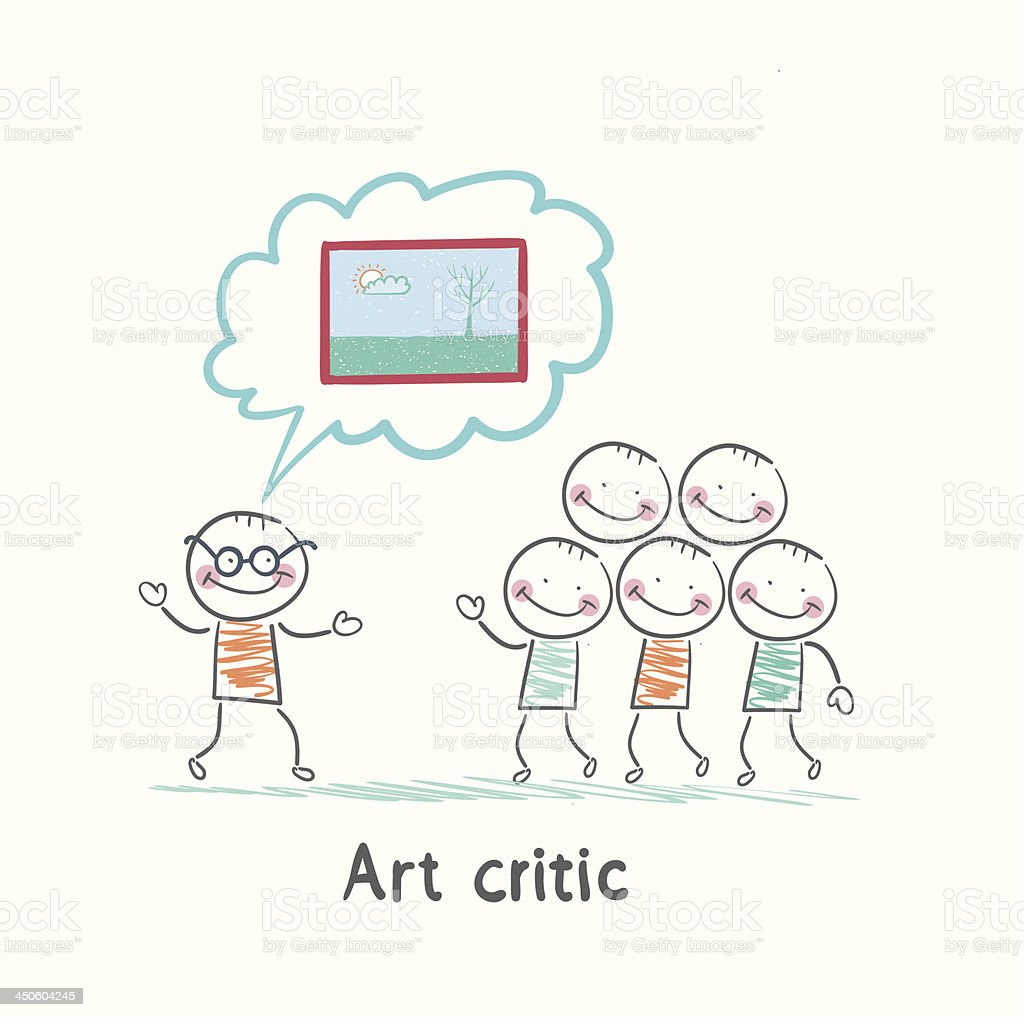 Art critic tells people about the picture royalty-free stock vector art