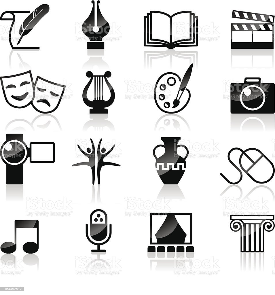 Art Culture and creativity black & white set. vector art illustration