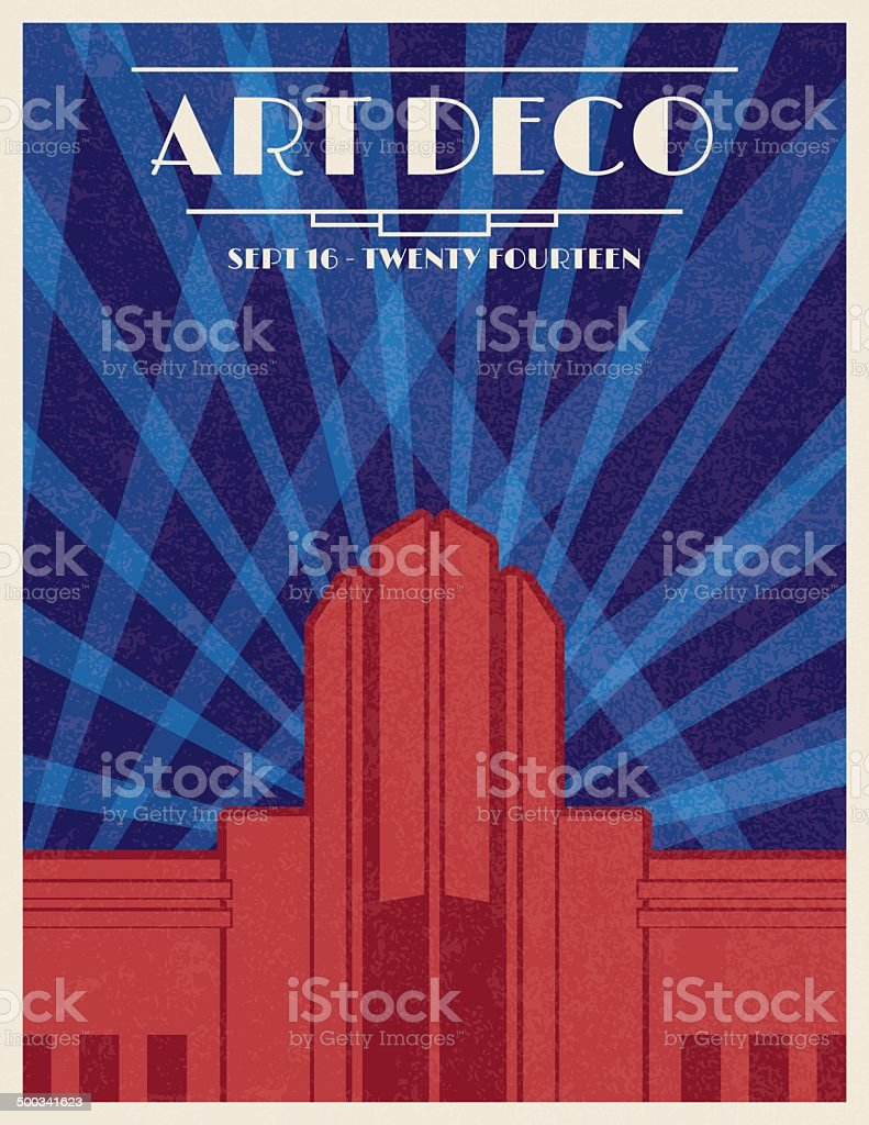 Art Deco Architecture Poster vector art illustration