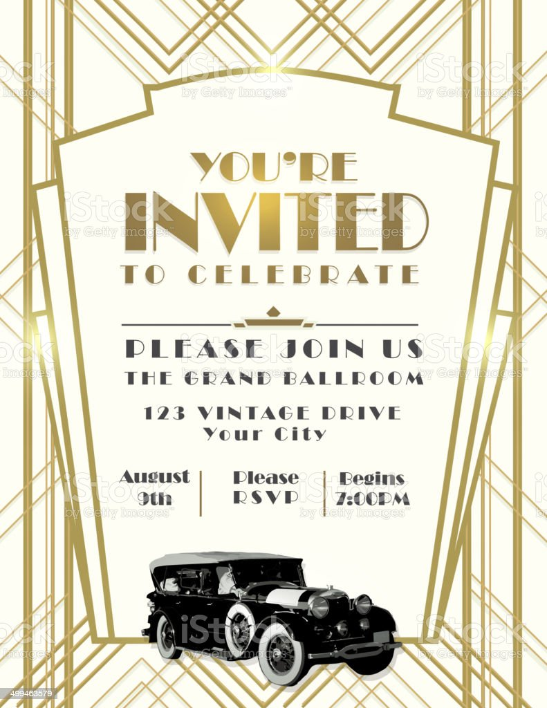 Art Deco car style vintage invitation design template on whtie vector art illustration