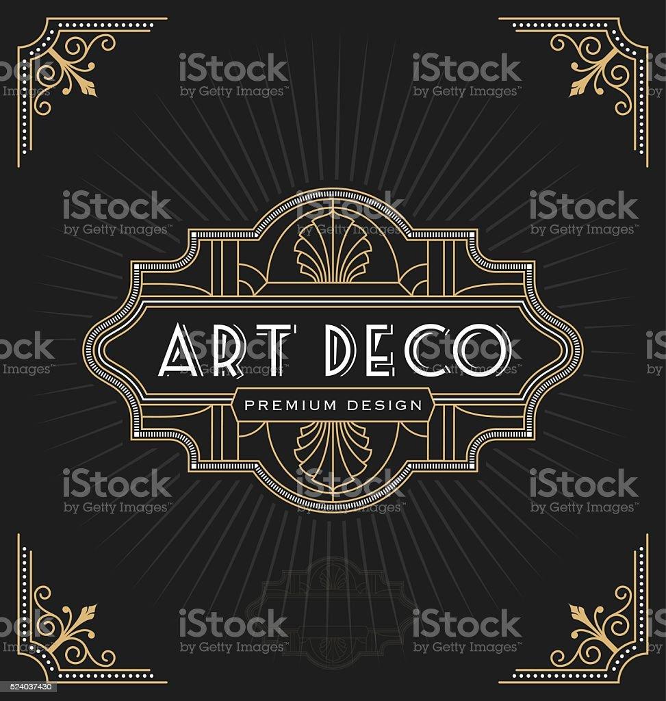 Art deco frame and label design vector art illustration
