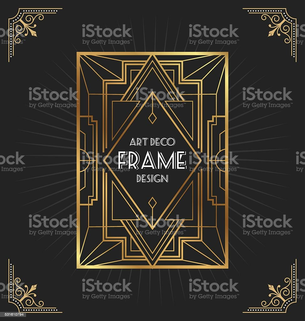 Art deco frame design vector art illustration