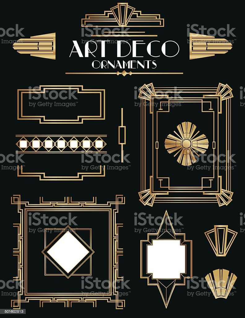 Art Deco Frames and Ornament Set vector art illustration