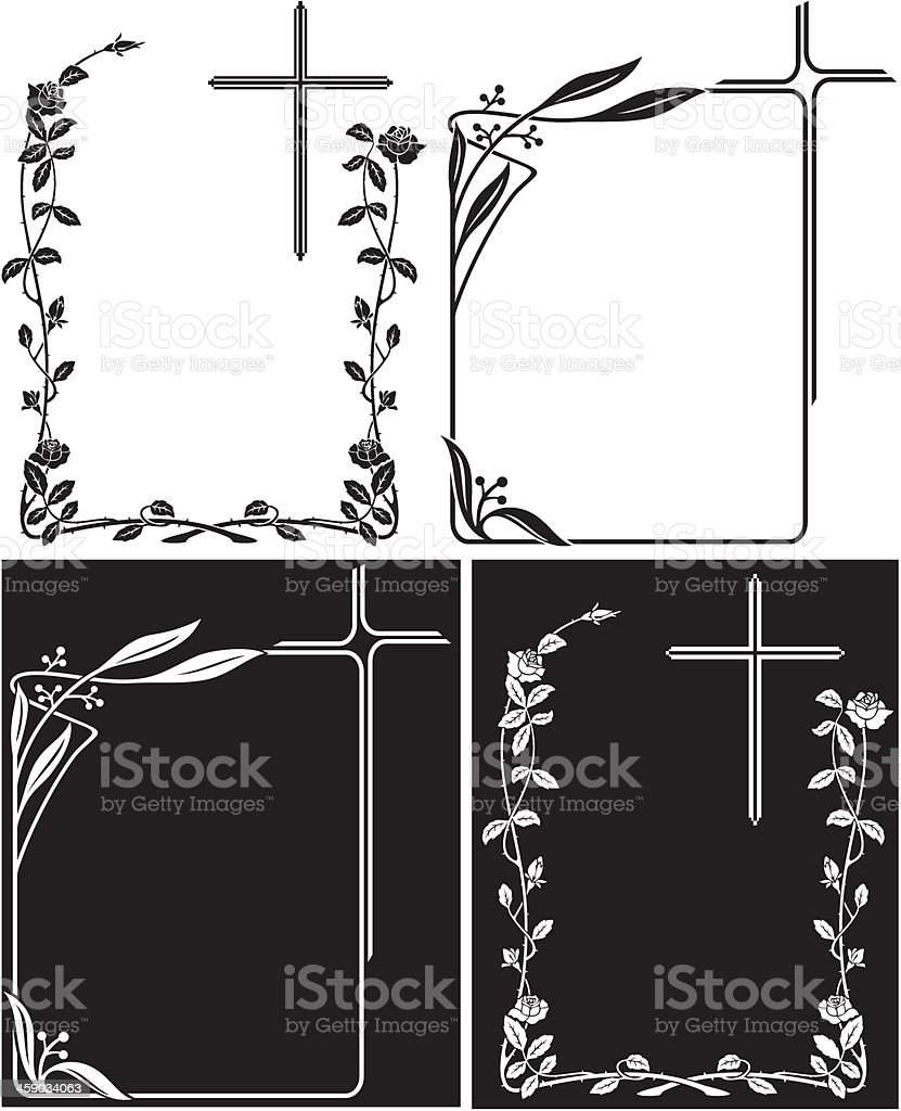 Art Deco frames for obituary or memory plaques vector art illustration