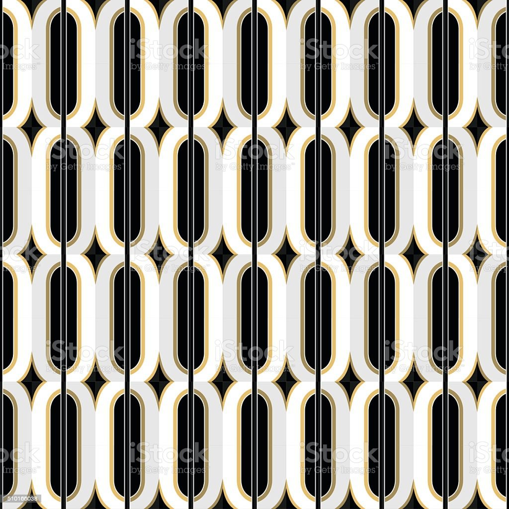 Art Deco golden seamless vintage wallpaper pattern. Geometric decorative pattern vector art illustration