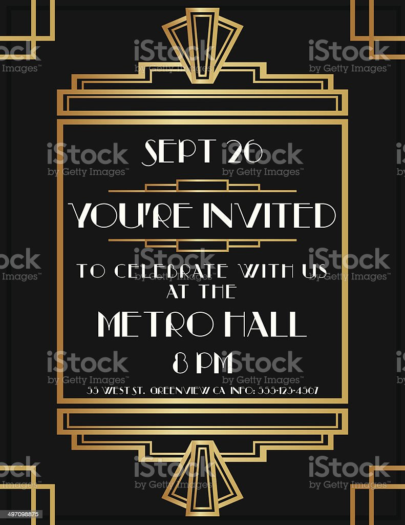 Art Deco Invite vector art illustration