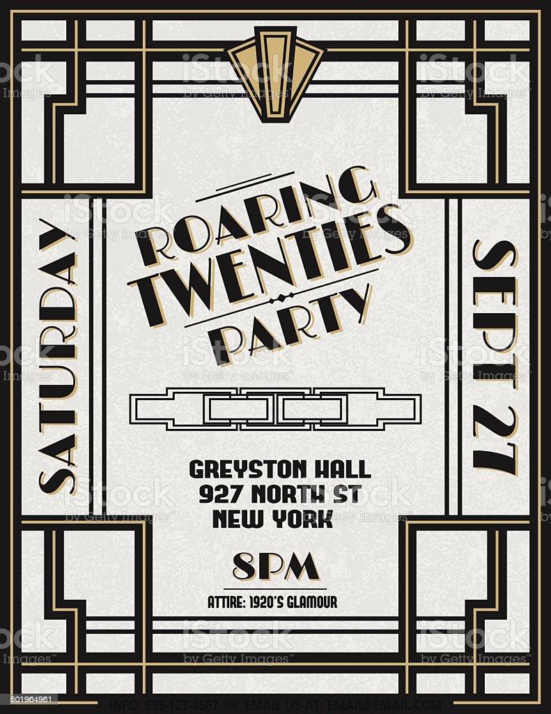 Art Deco Party Invitation Template vector art illustration