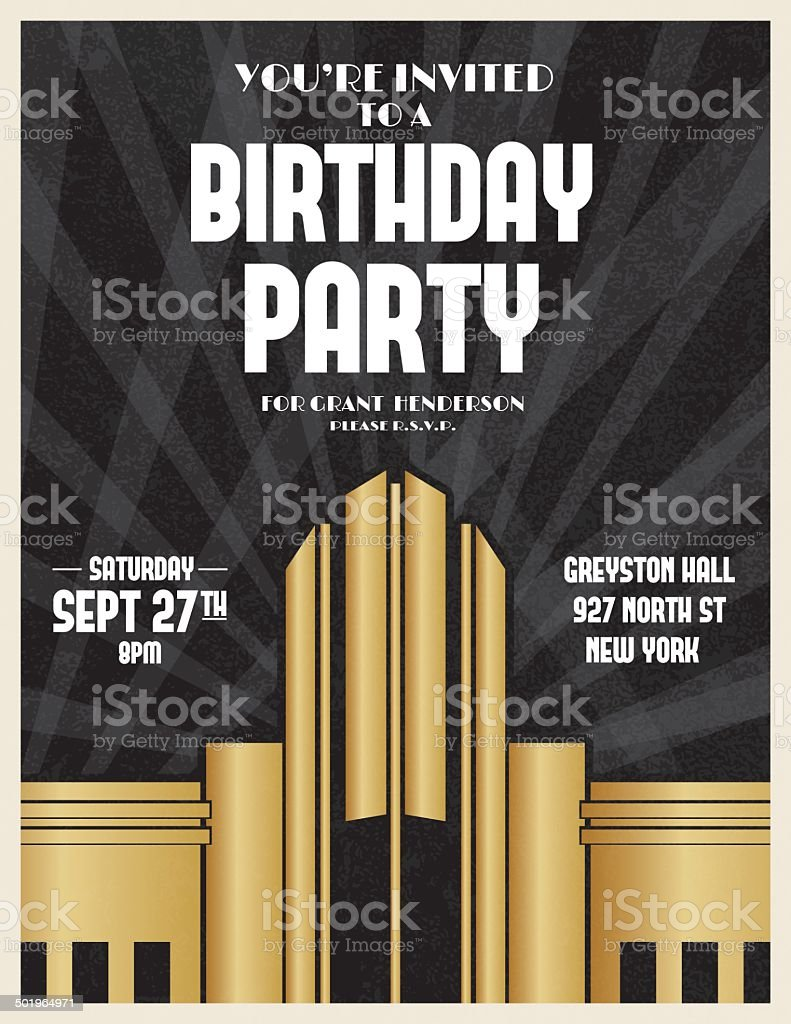 Art Deco Party Invitation Template vector art illustration