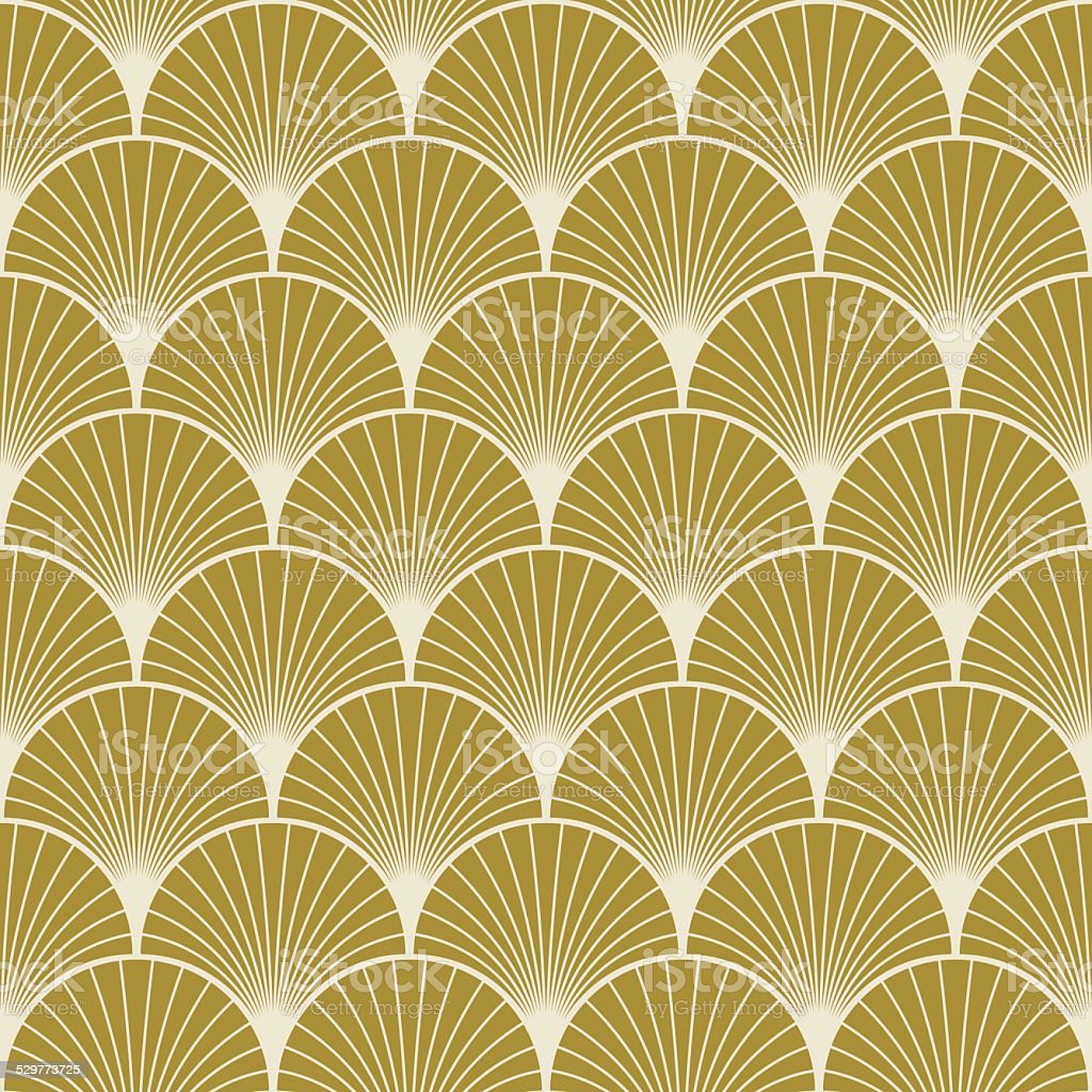 art deco pattern of overlapping arcs vector art illustration