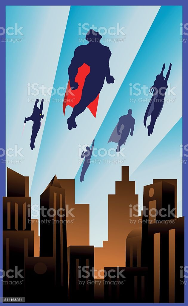 art deco style flying superheroes illustration stock vector art 514163254 istock. Black Bedroom Furniture Sets. Home Design Ideas