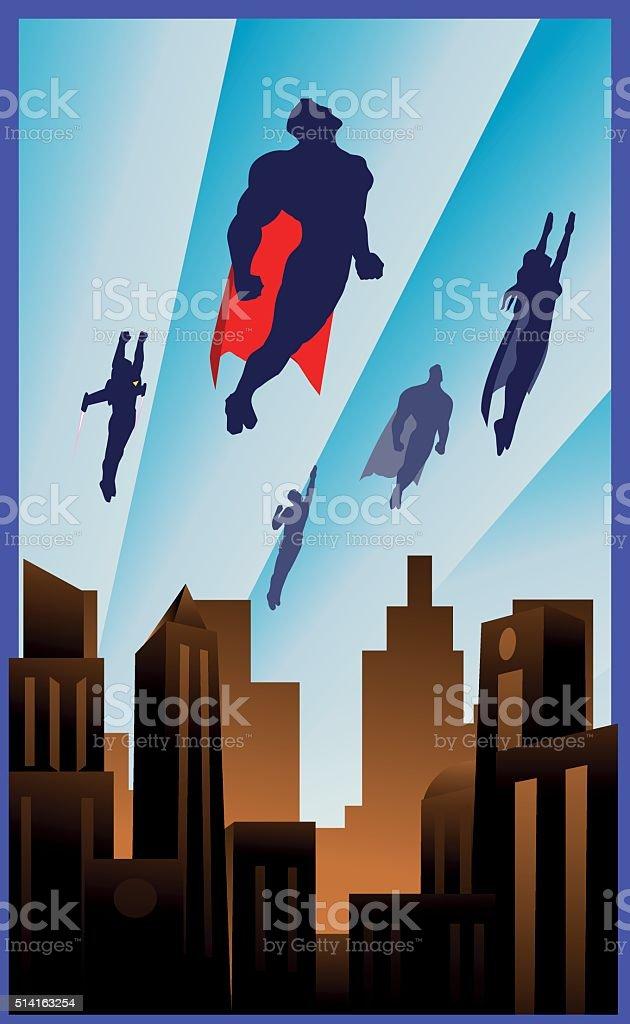 Art Deco Style Flying Superheroes Illustration vector art illustration