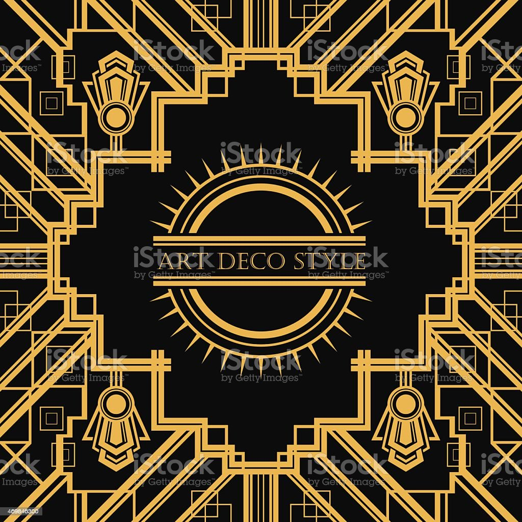 Art Deco style geometric card template design vector art illustration