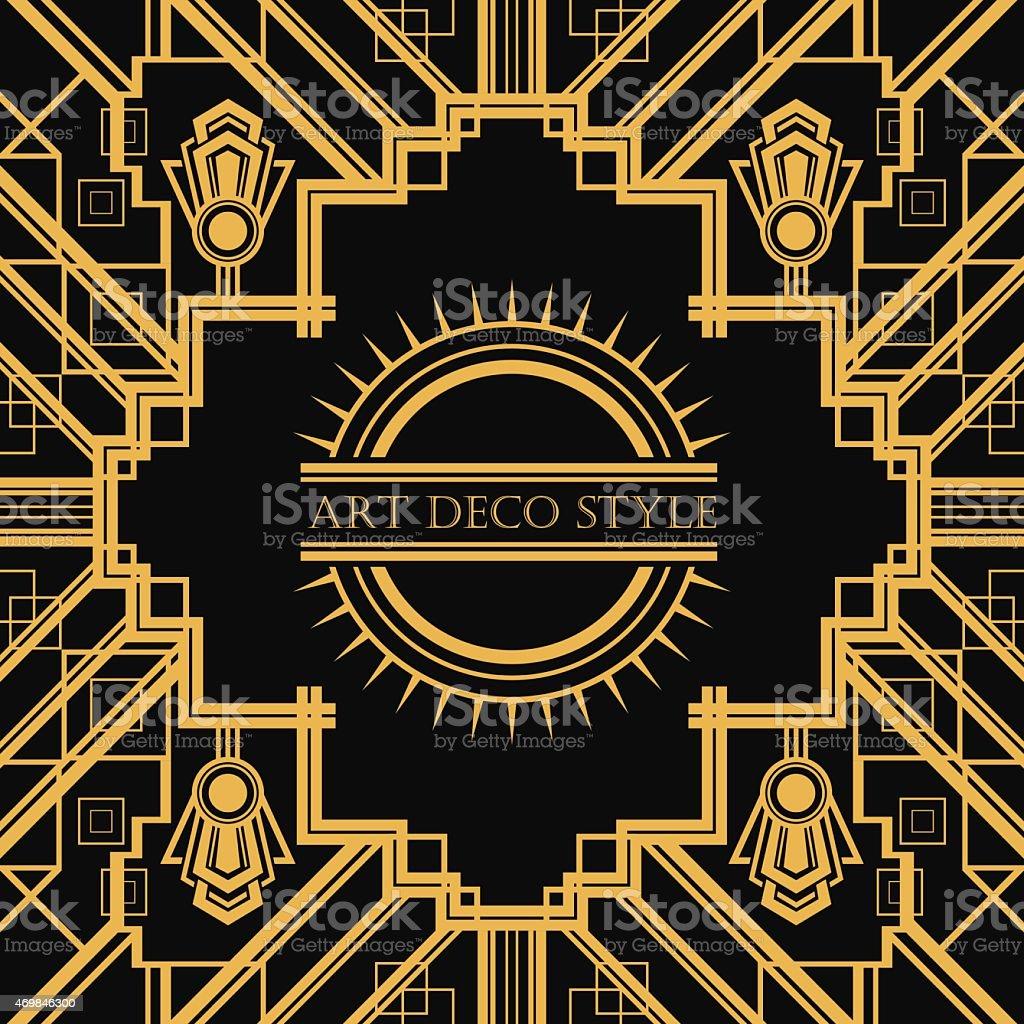 Art Deco style geometric card template design vector art illustration