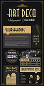 Art Deco style Infographic design elements template