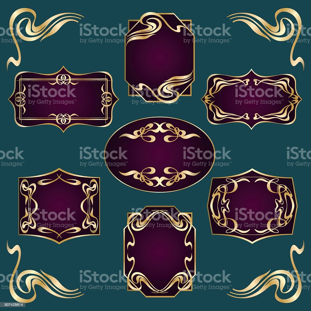Art Deco Style Labels vector art illustration