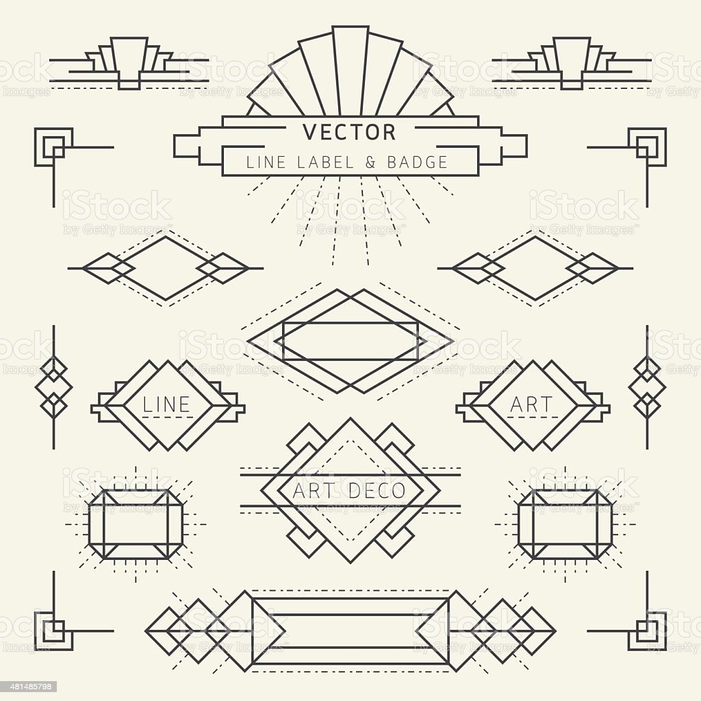 Art Deco Style Line and Geometric Labels and Badges Monochrome vector art illustration