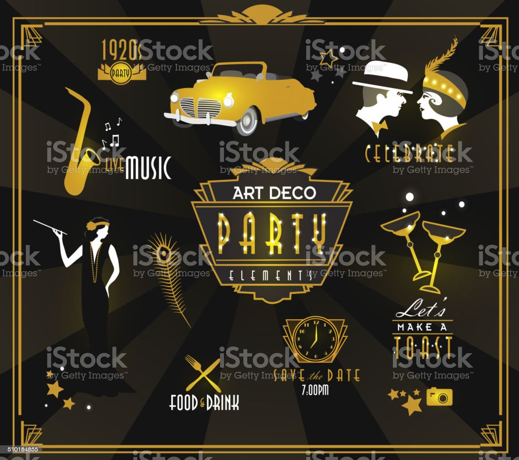 Art Deco style party icon and label set vector art illustration