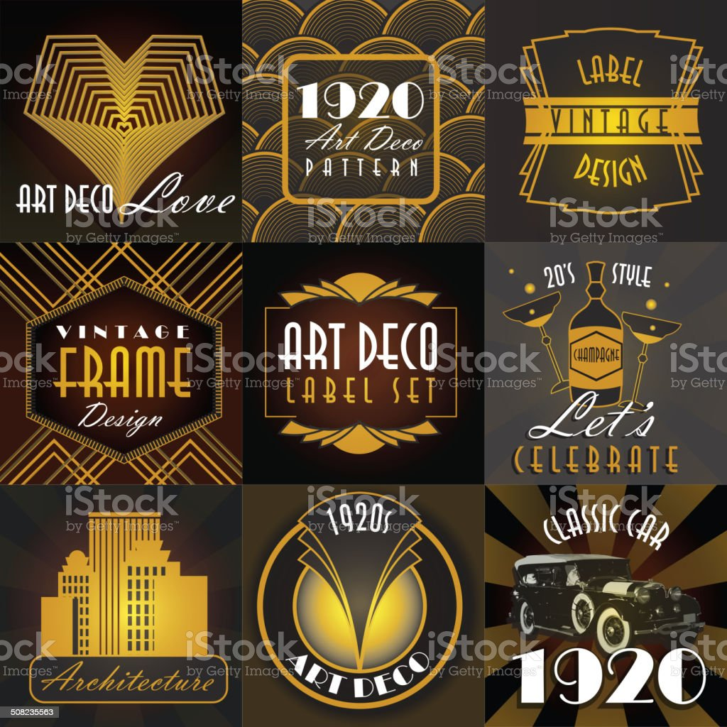 Art Deco style set of label design templates vector art illustration