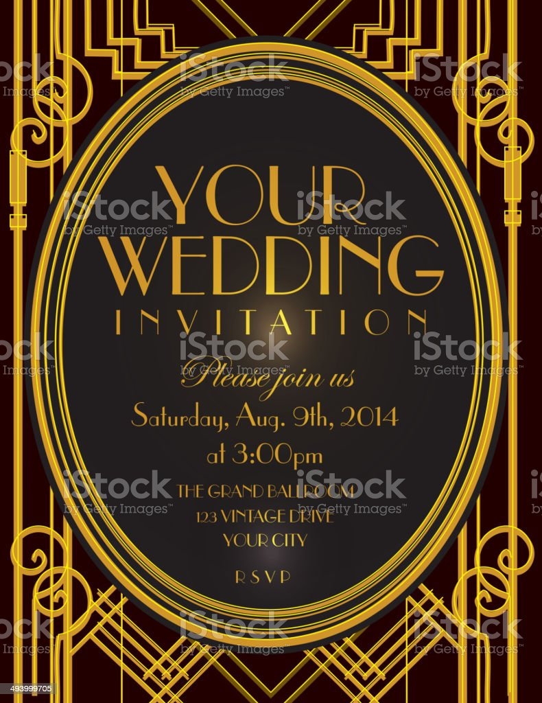 Art Deco style vintage invitation design template royalty-free stock vector art