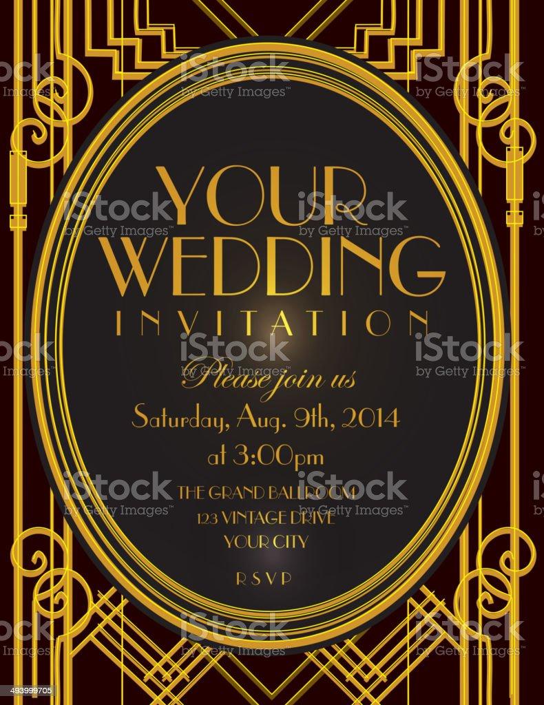 Art Deco style vintage invitation design template vector art illustration