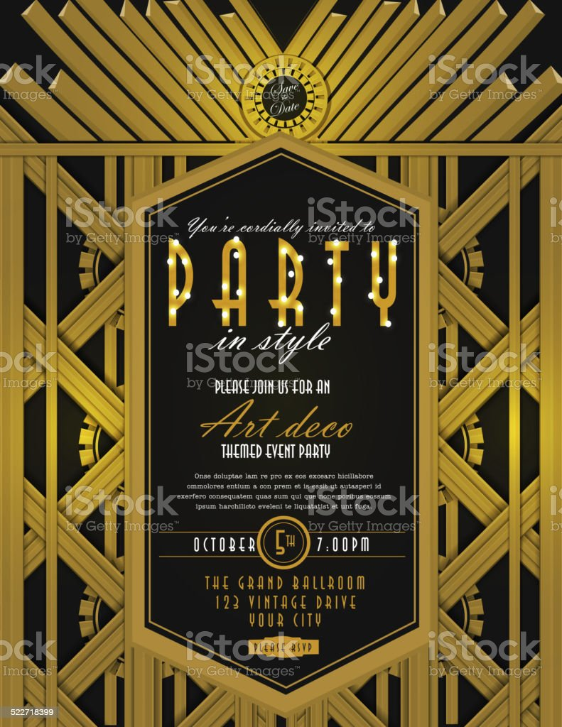 Art Deco style vintage invitation design template vector art illustration