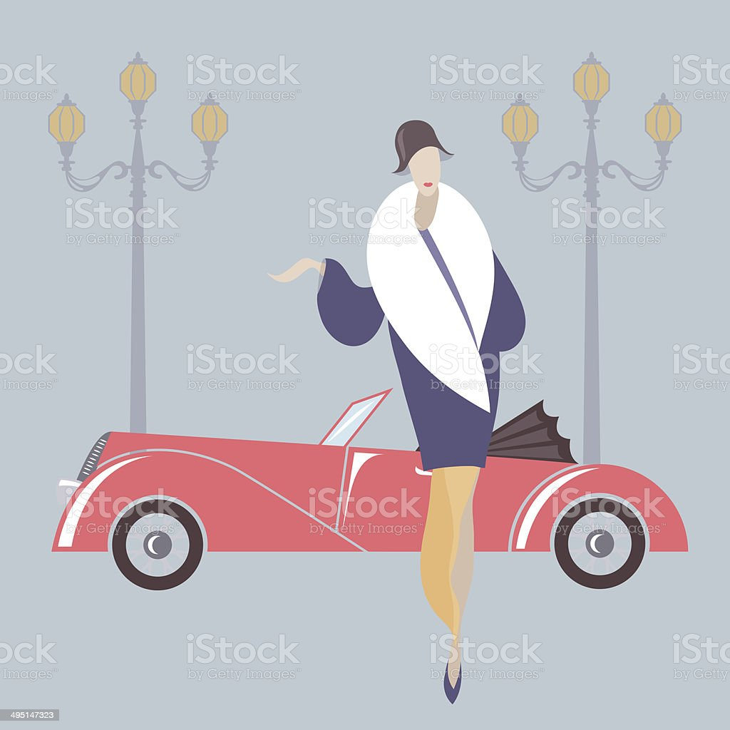 Art deco style woman and retro car vector art illustration