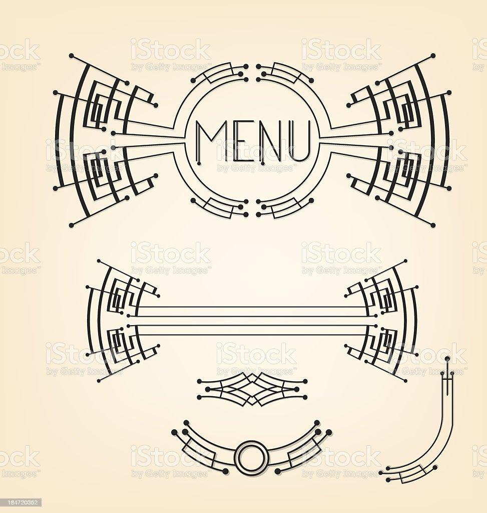 Art deco stylized menu decoration set royalty-free stock vector art