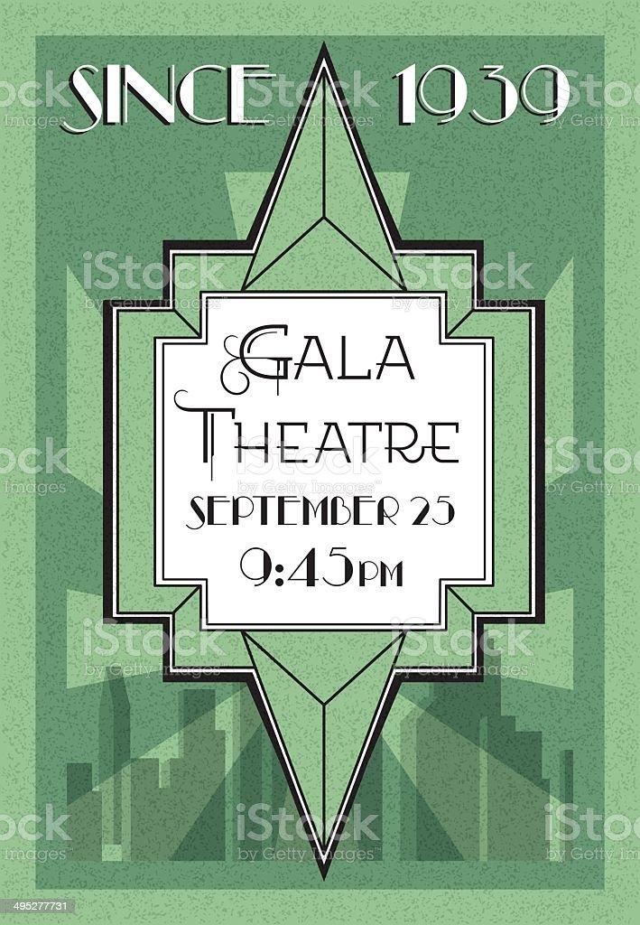 Art Deco Theatre Poster royalty-free stock vector art