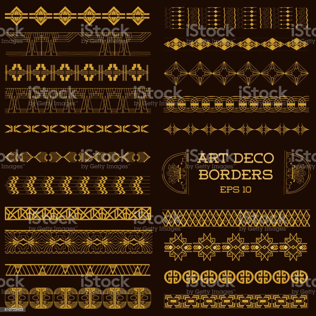 Art Deco Vintage Borders and Design Elements - hand drawn vector art illustration