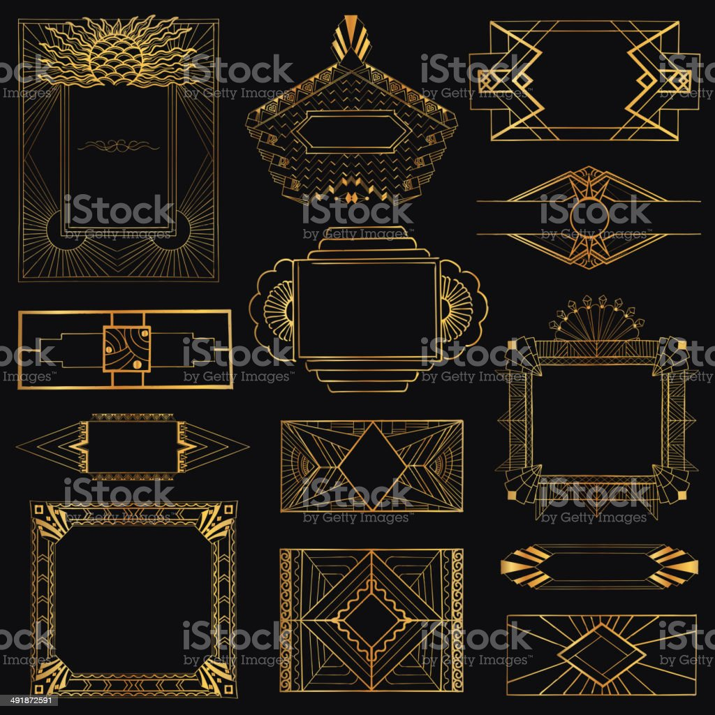 Art Deco Vintage Frames and Design Elements - hand drawn vector art illustration