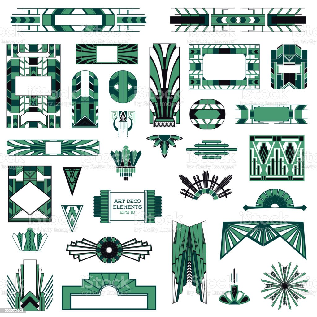 Art Deco Design Elements art deco vintage frames and design elements in vector stock vector