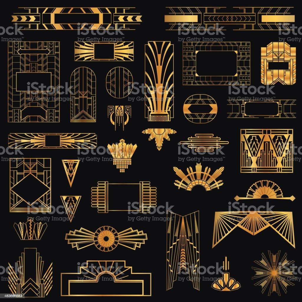 Art Deco Vintage Frames and Design Elements vector art illustration