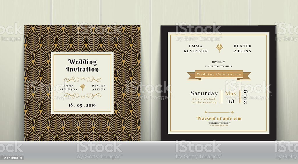 Art Deco Wedding Invitation Card in Gold and Black Colour vector art illustration