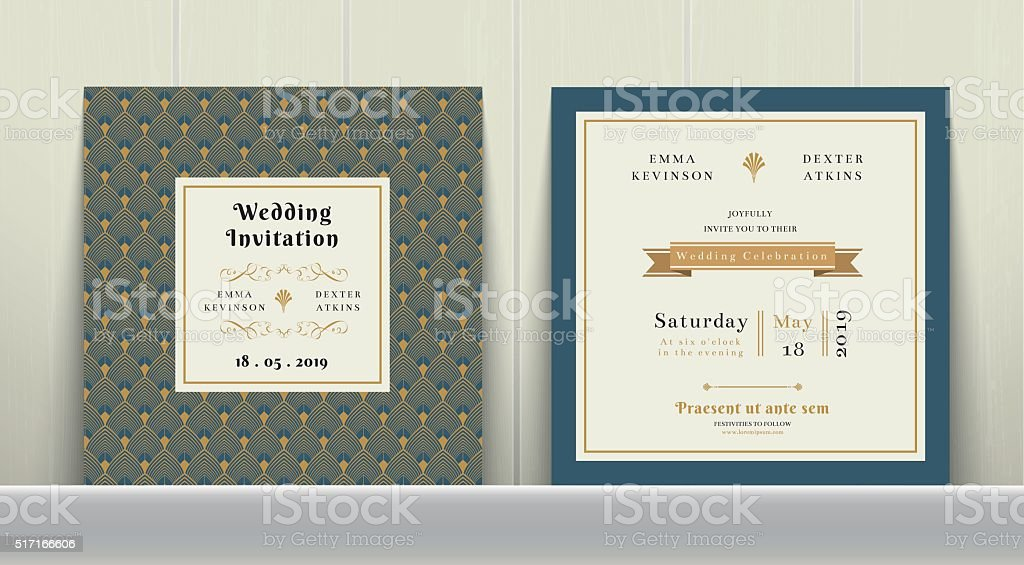 Art Deco Wedding Invitation Card in Gold and Blue vector art illustration
