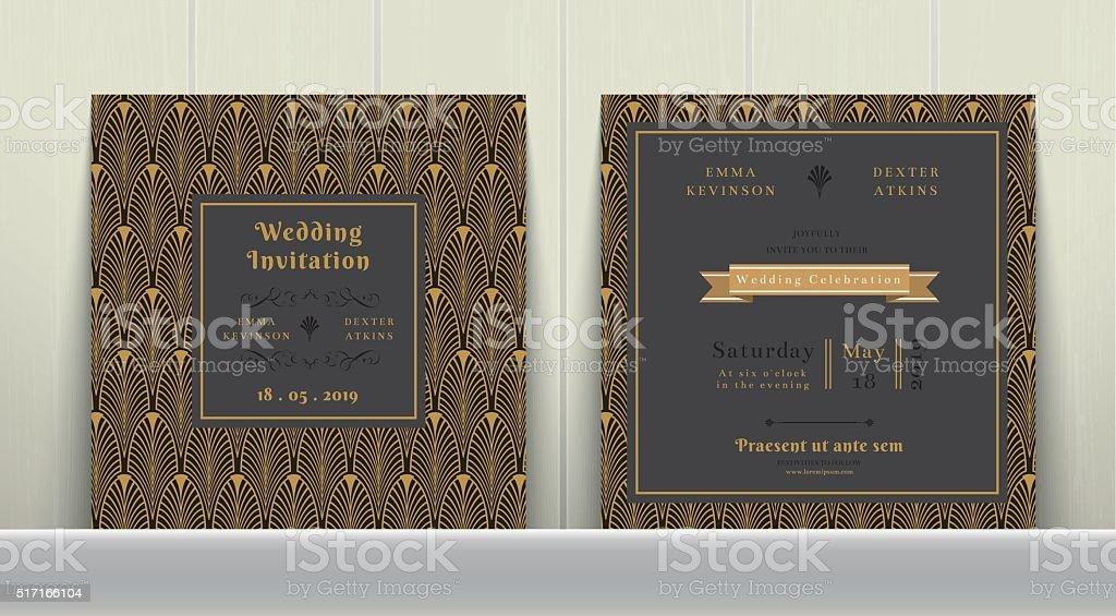 Art Deco Wedding Invitation Card  in Gold and Dark Gray vector art illustration