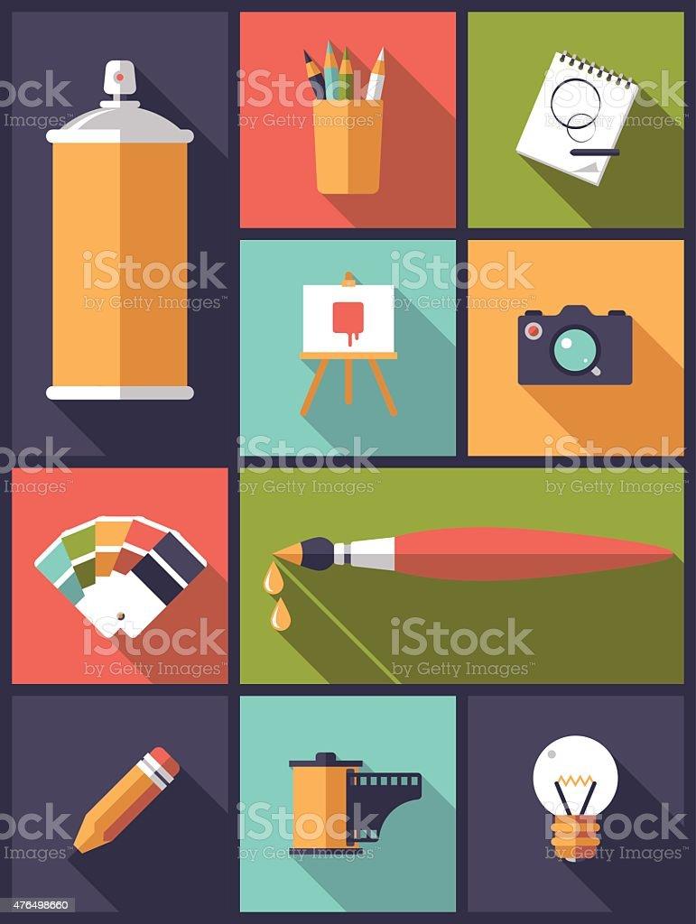 Art, design and photography Flat Icons Vector Illustration vector art illustration