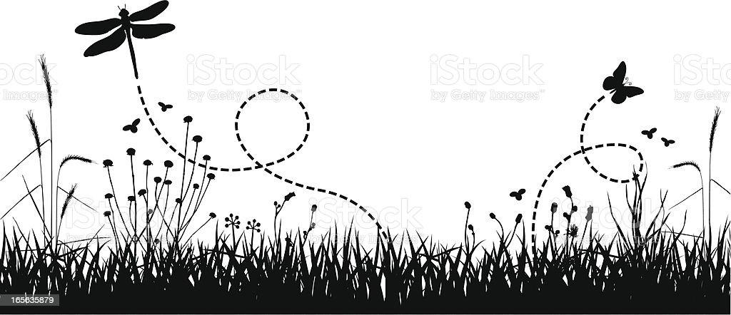Art design of meadow with butterflies royalty-free stock vector art