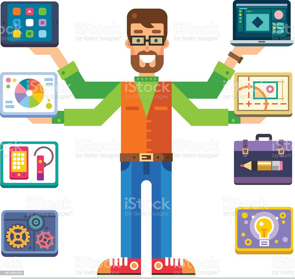 Art Director, man characters with different devices vector art illustration