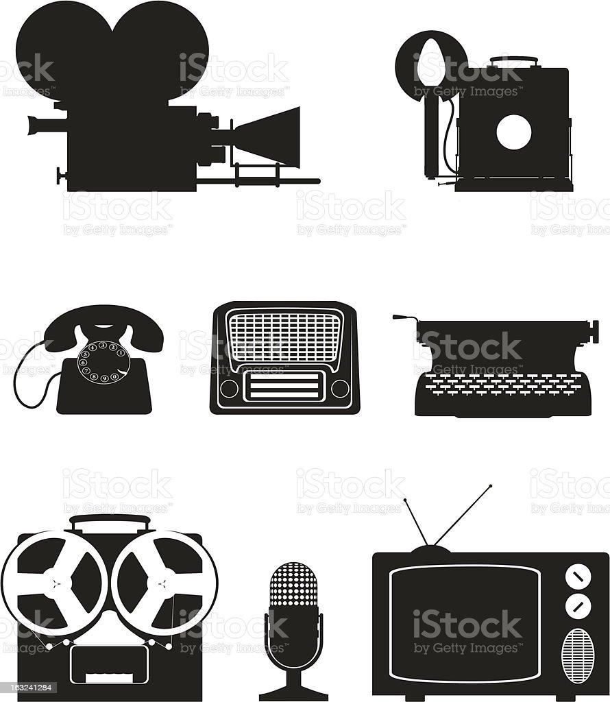 art equipment silhouette video photo phone recording tv radio writing royalty-free stock vector art