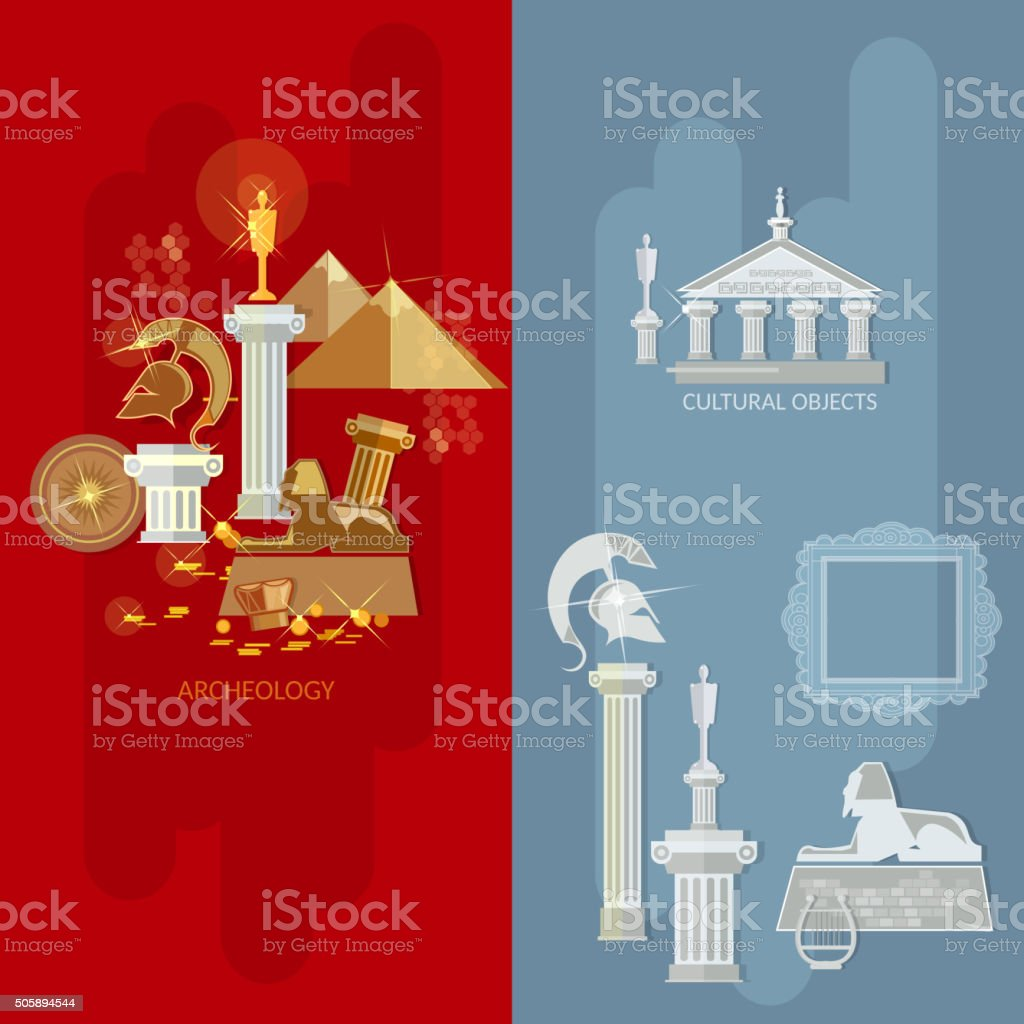 Art gallery banners antique museum exhibition vector art illustration