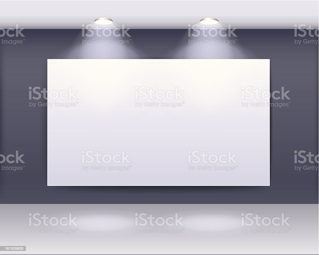 art gallery frame design with spotlights vector art illustration
