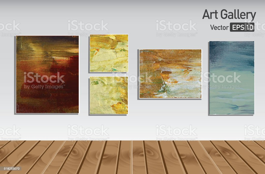 Art gallery or museum walls and wooden floor abstract paintings vector art illustration