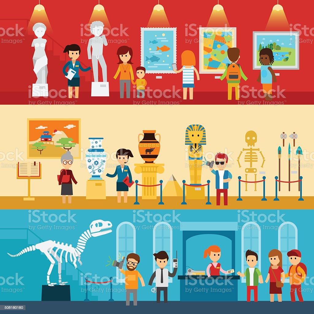 Art gallery visitors and antique museum of paleontology flat banners vector art illustration
