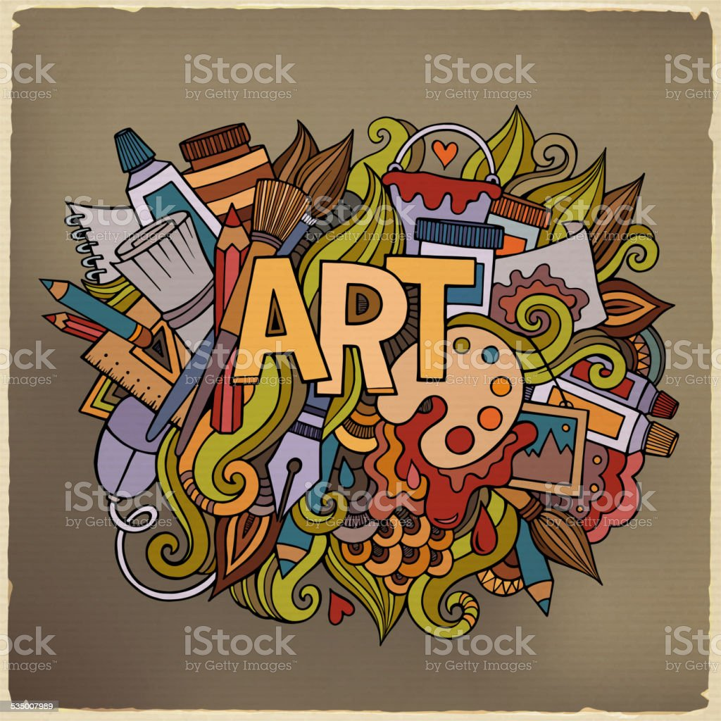 Art hand lettering and doodles elements vector art illustration