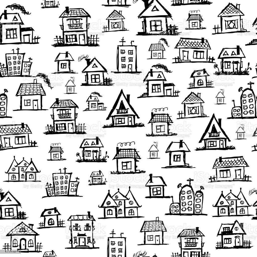 Art houses, seamless background for your design royalty-free stock vector art