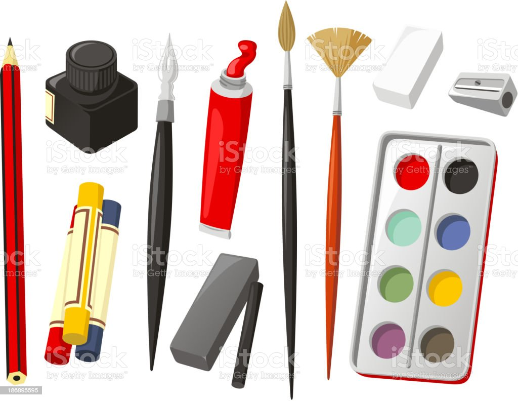 Art Icon Set Pencil crayon ink quill oil brush watercolor royalty-free stock vector art