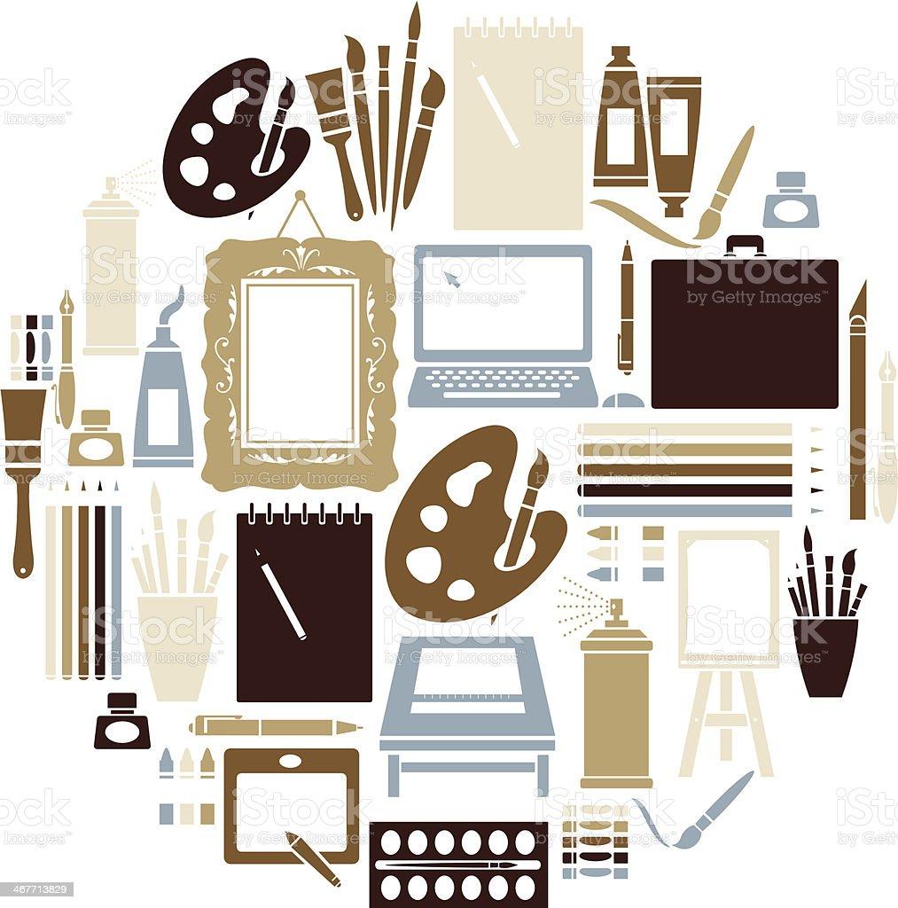 Art Icon Set vector art illustration